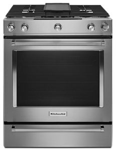 Stainless Steel 30 Inch 5 Burner Dual Fuel Convection Slide In Range With  Baking Drawer KSDB900ESS | KitchenAid
