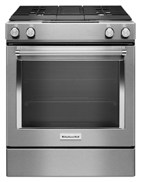 Stainless Steel 30 Inch 4 Burner Dual Fuel Downdraft Slide In Range Ksdg950ess Kitchenaid