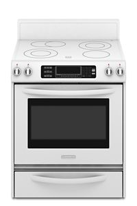 White Kitchenaid True Convection Oven Glass Cooktop Front Control Knobs Architect Series Ii Ykers807sp Kitchenaid