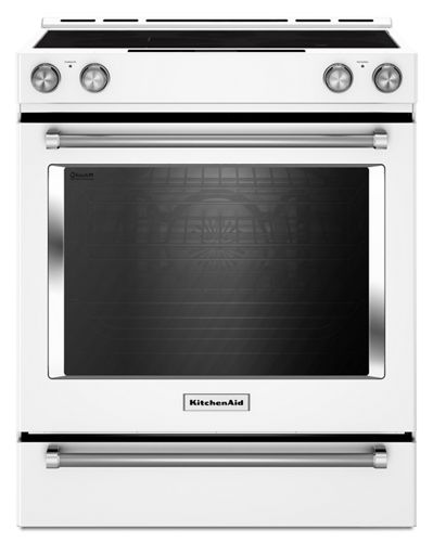 White 30 Inch 5 Element Electric Convection Slide In Range With Baking Drawer Ykseb900ewh Kitchenaid