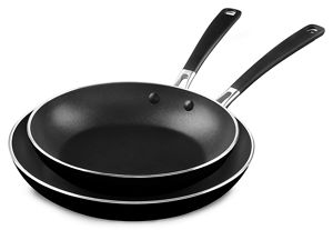 """Aluminum Nonstick 10"""" and 12"""" Skillets Twin Pack"""