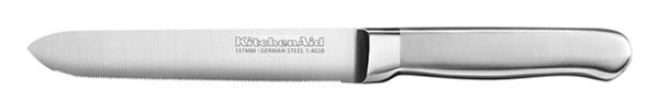 Classic Forged 5.5-Inch Brushed Stainless Serrated Utility Knife