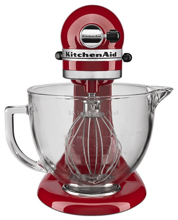 Easily make your favorite cakes and multiple batches of cookie dough with the KitchenAid® Tilt-Head Stand Mixer and glass mixing bowl. With 10 speeds, the stand mixer will quickly become your kitchen's culinary center as you mix, knead and whip ingredients with ease. For even more versatility, the power hub fits optional attachments from food grinders to pasta makers and more.