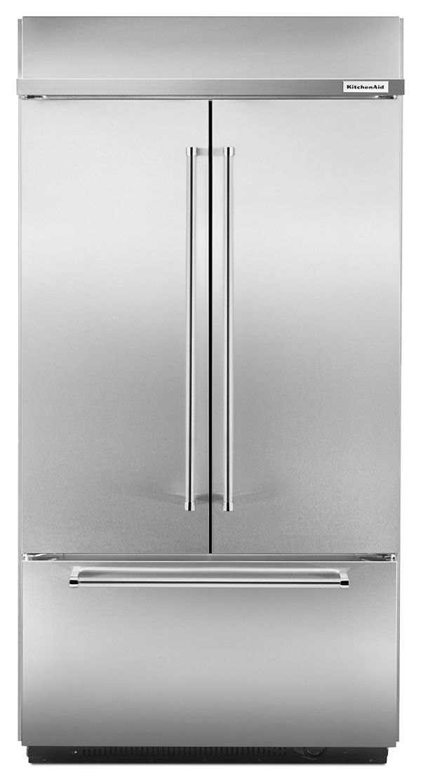 "Image of KitchenAid® 24.2 Cu. Ft. 42"" Width Built-In Stainless French Door Refrigerator"