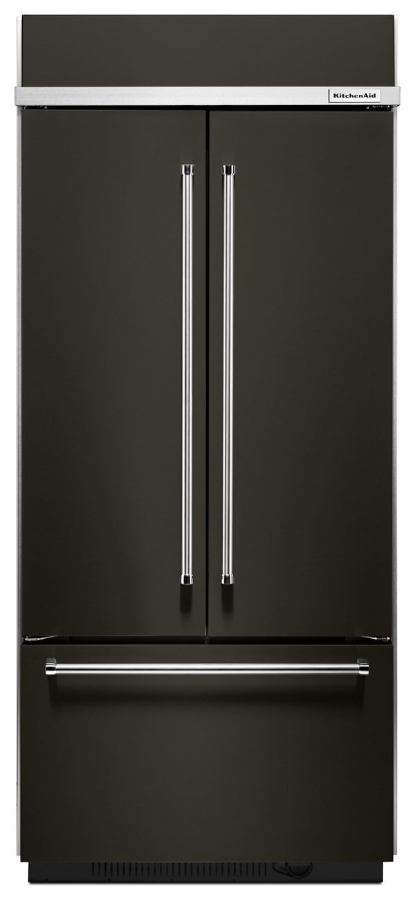 "Image of KitchenAid® 20.8 Cu. Ft. 36"" Width Built In Stainless Steel French Door Refrigerator with Platinum Interior Design"