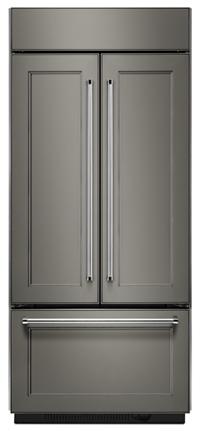 Réfrigérateur encastré à portes françaises de 20,8 pi cu et de 36 po de largeur, prêt à recevoir un panneau, avec intérieur platine