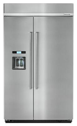 Stainless Steel Cu Ft Inch Width BuiltIn Side By Side - Cut kitchen cabinets to fit refrigerator