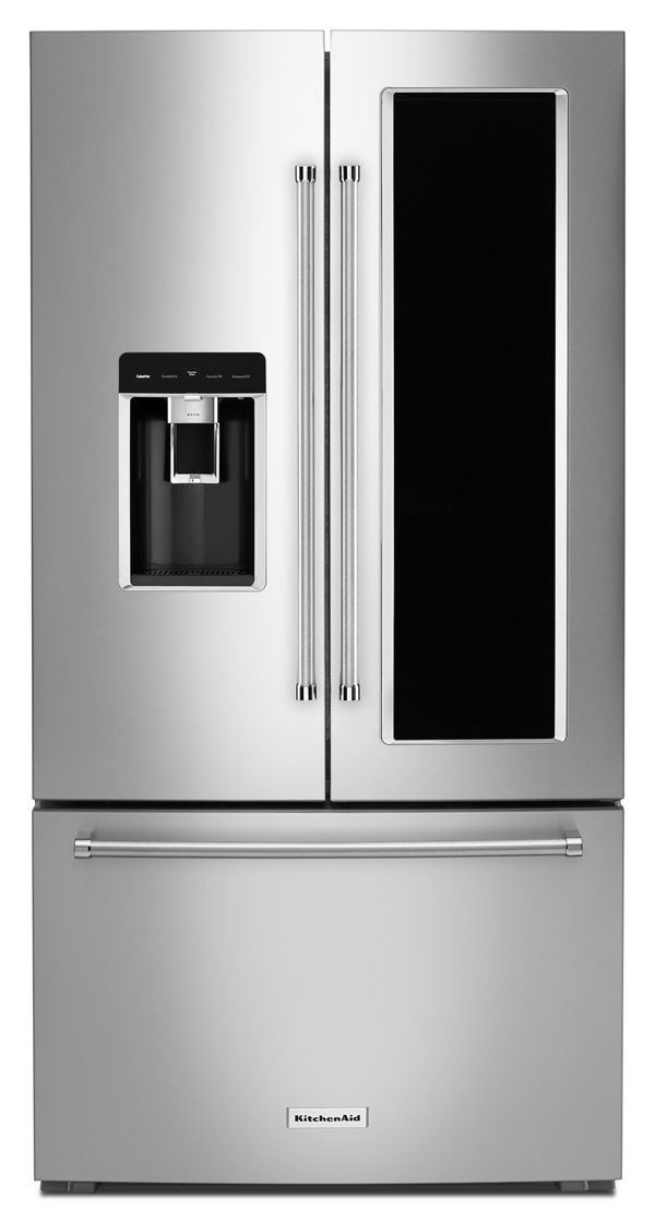 "Image of KitchenAid® 23.5 cu. ft. 36"" Smart Counter-Depth French Door Refrigerator with FreshVue™ Door-within-Door"