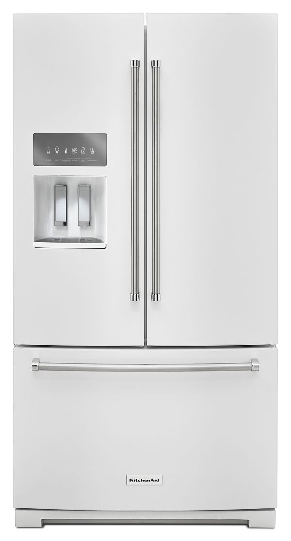 KitchenAid® 26.8 cu. ft. 36-Inch Width Standard Depth French Door Refrigerator with Exterior Ice and Water