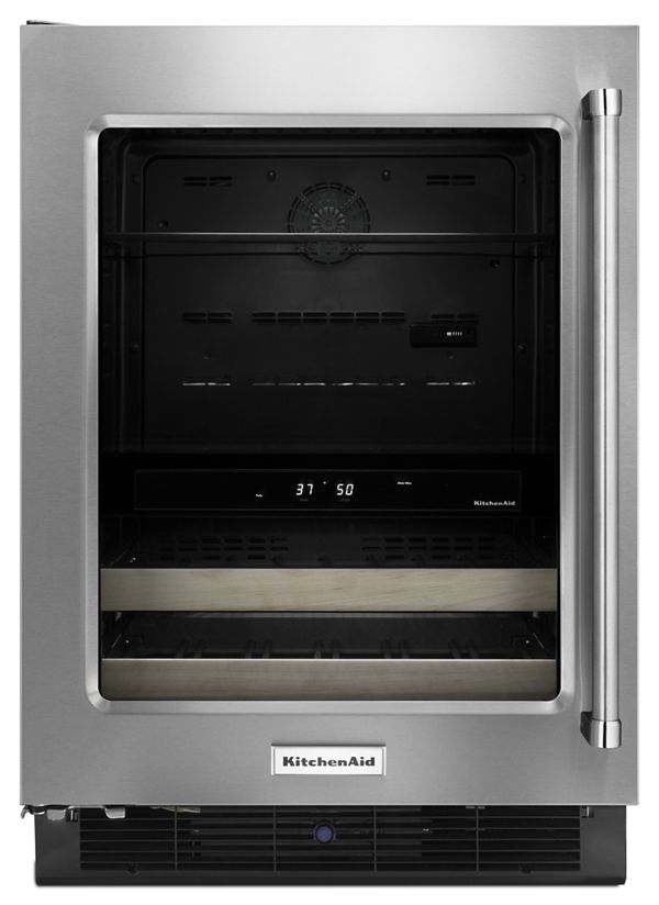 """Image of KitchenAid® 24"""" Beverage Center with Glass Door and Wood-Front Racks"""