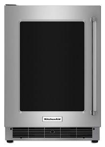 "24"" Undercounter Refrigerator with Glass Door and Metal Trim Shelves"