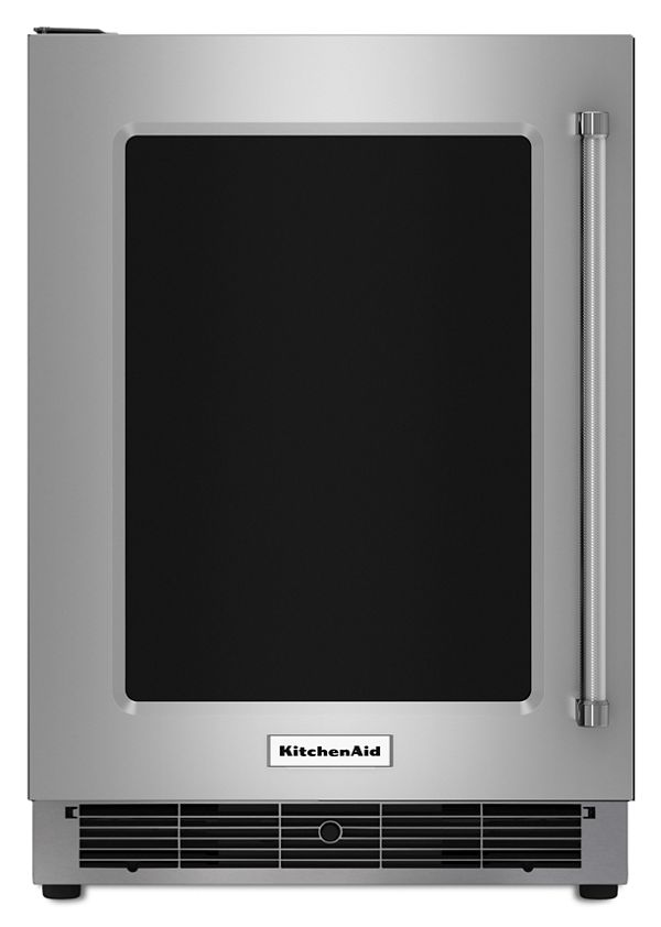 "Image of KitchenAid® 24"" Undercounter Refrigerator with Glass Door and Metal Trim Shelves"