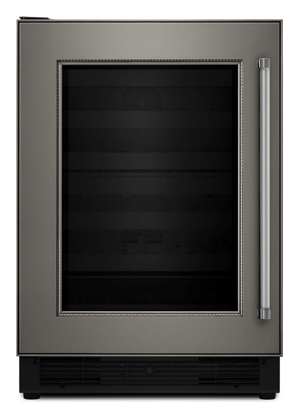 """Image of KitchenAid® 24"""" Panel Ready Wine Cellar with Glass Door and Wood-Front Racks"""