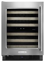 """KitchenAid® 24"""" Wine Cellar with Glass Door and Wood-Front Racks"""