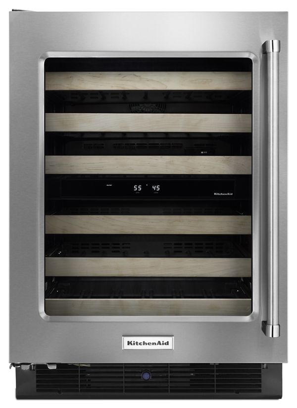 """Image of KitchenAid® 24"""" Wine Cellar with Glass Door and Wood-Front Racks"""