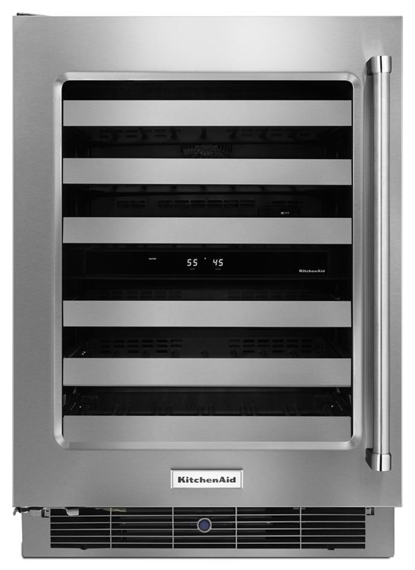 """Image of KitchenAid® 24"""" Wine Cellar with Glass Door and Metal-Front Racks"""