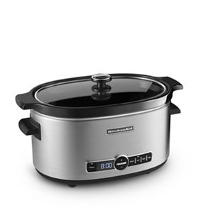 Come home to dinner with a 6-quart slow cooker with Easy Serve Lid from KitchenAid.