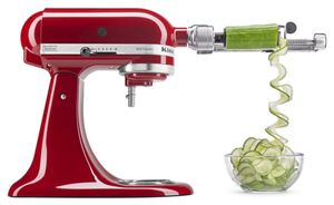 Spiralize vegetables with KitchenAid mixer attachments.