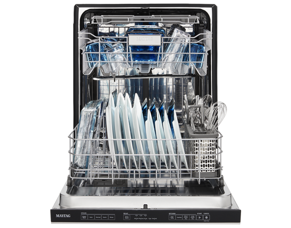 Top Control Dishwasher with open door.