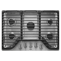Whirlpool 30 inch 5 Burner Gas Cooktop with EZ-2-Lift™ Hinged Cast-Iron Grates