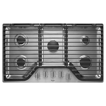 Whirlpool 36 inch 5 Burner Gas Cooktop with EZ-2-Lift™ Hinged Cast-Iron Grates