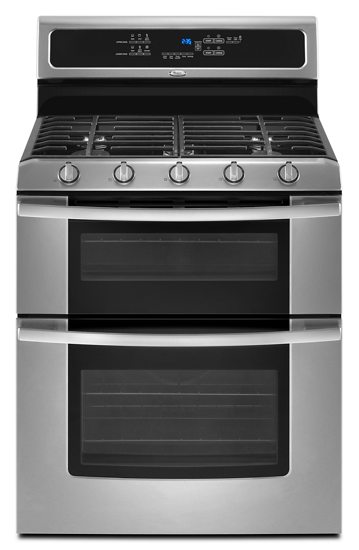 gold double oven freestanding gas range whirlpool