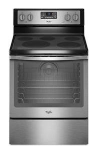 Black-on-Stainless 6 4 Cu  Ft  Freestanding Electric Range